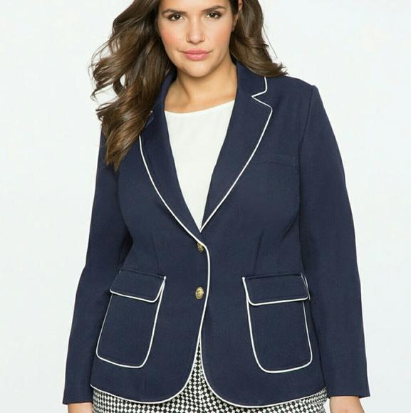 00b1ab32467 NWT Eloquii Navy Contrast Piping Blazer Size 20
